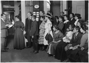 Applicants for working papers at Department of Education Bldg. Boston, Mass, October 1909