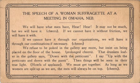 Speech of a Woman Suffragette at a Meeting in Omaha, Nebraska
