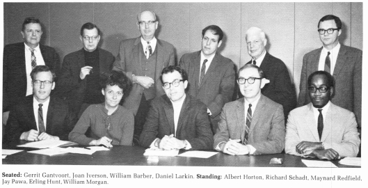 11 faculty from the SUNY-Oneonta History Department: Gerrit Gantvoort, Joan Iversen, WilliamBarber, Daniel Larkin, one unidentified man. Albert Horton, Richard Schadt, Maynard Redfield, Jay Pawa, Erling Hunt, William Morgan