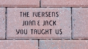 A brick in the alumni brick garden at the State University of New York at Oneonta, put there by Mark Deligatti (1975).
