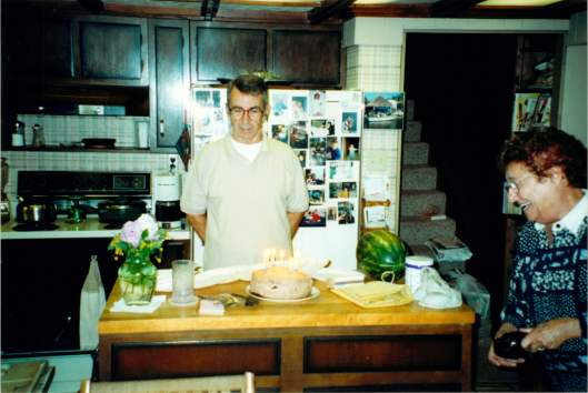 Jack and Joan in the kitchen of their Goodyear Lake home, celebrating Jack's birthday.